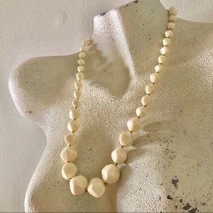 Vintage Beige + Gold Necklace